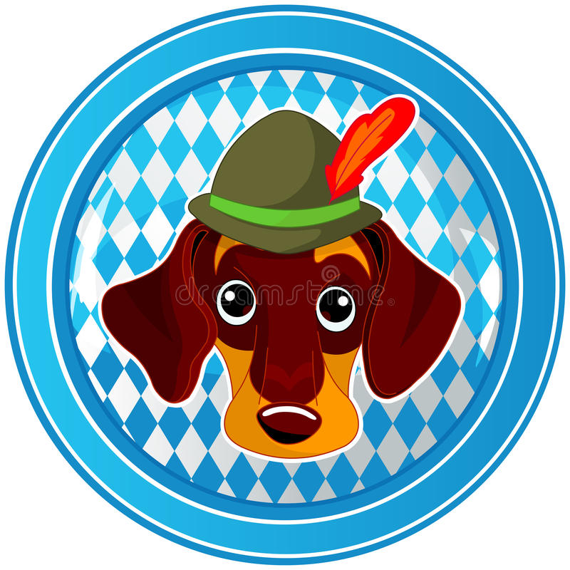 Oktoberfest circle dog button vector illustration