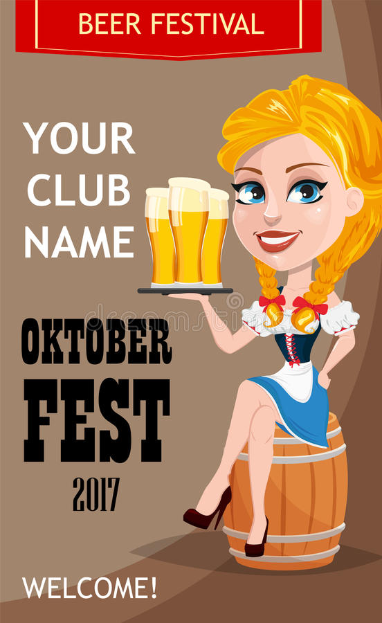 Oktoberfest club invitation with redhead girl sitting on ba. Rrel and holding beer. Vector illustration on brown background. Cartoon character. Can be used for stock illustration