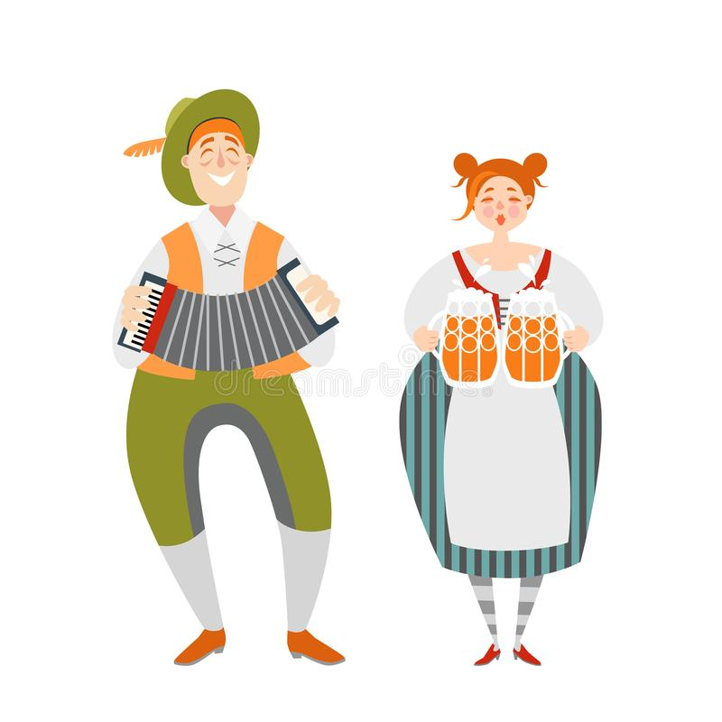 Oktoberfest couple of funny cartoon characters in Bavarian costumes. A man with an accordion and a girl with mugs of beer. On a white background stock illustration