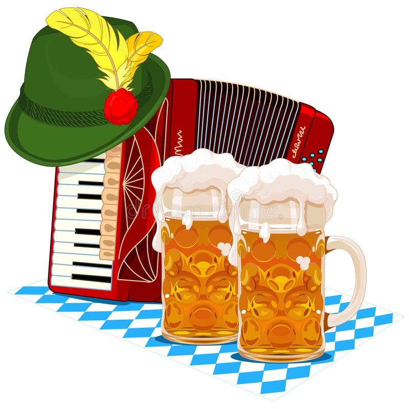 Oktoberfest design. With accordion, beer and Bavarian hat stock illustration
