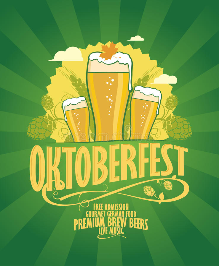 Oktoberfest design with beer and hope. vector illustration
