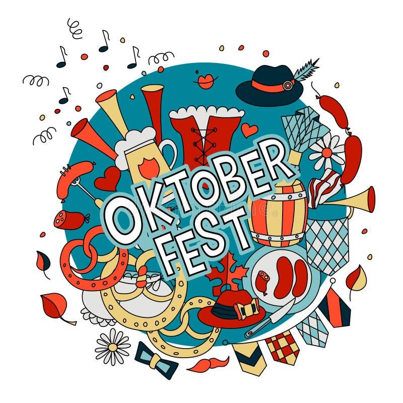 Oktoberfest design in doodle style vector illustration