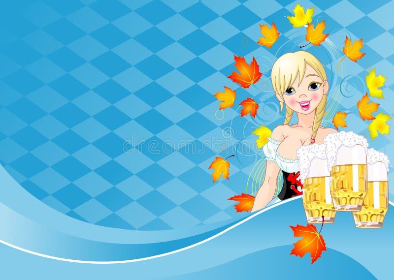 oktoberfest dziewczyny karciany zaproszenie ilustracji