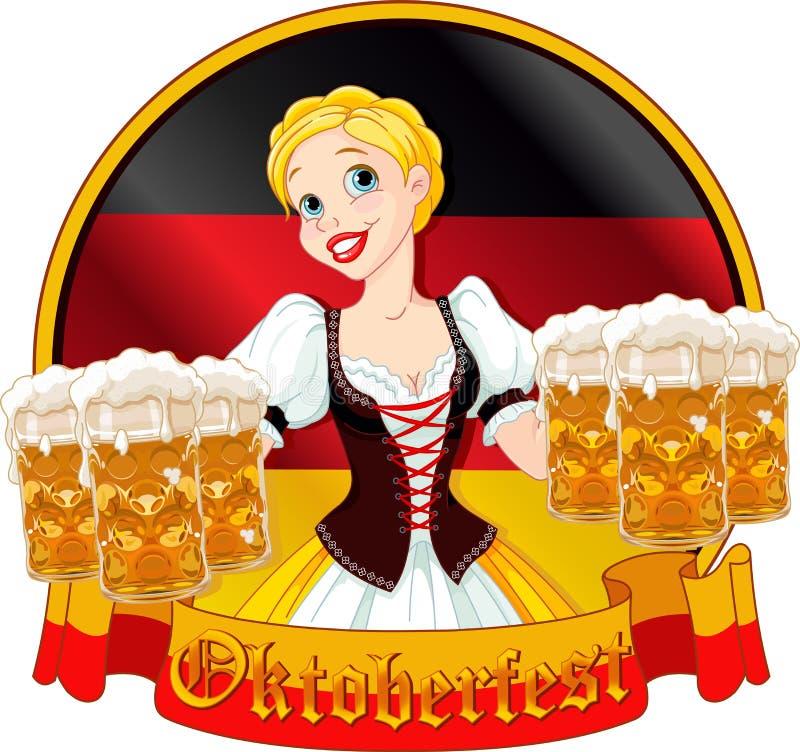 Oktoberfest dziewczyny projekt ilustracja wektor