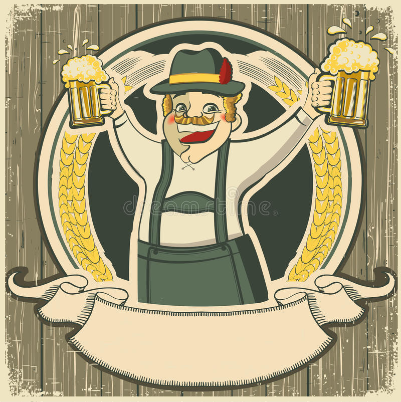 Oktoberfest. Etiqueta del vintage con el hombre y los vidrios de ilustración del vector