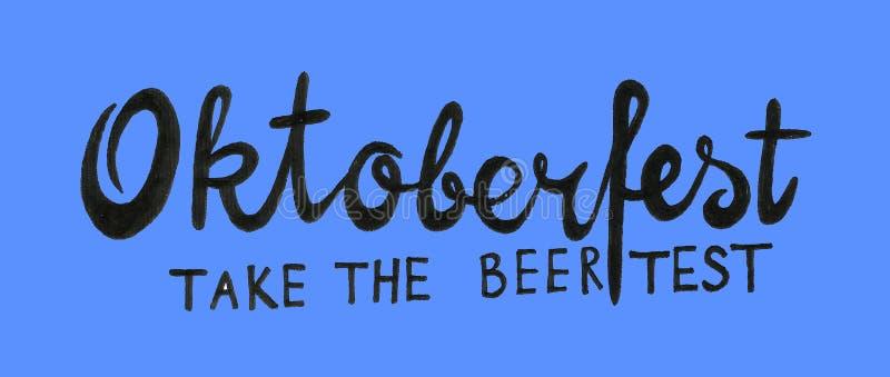 Oktoberfest för festival för Munich öl handskriven text med linjen konstillustration Affisch baner, logo, website som skrivar ut  royaltyfri illustrationer