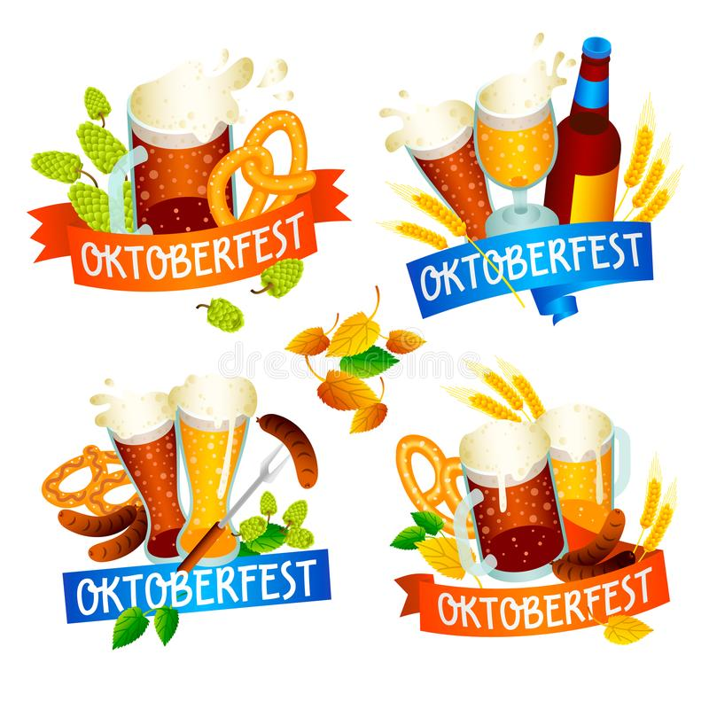 Oktoberfest-Fahnensatz, isometrische Art lizenzfreie stockbilder