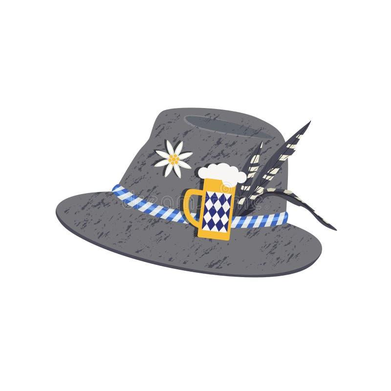 Oktoberfest felt hat with pins cartoon. German Alpine felt hat for Oktoberfest icon. Party decor hat with pins of edelweiss, beer stein glass fun hand drawn stock illustration