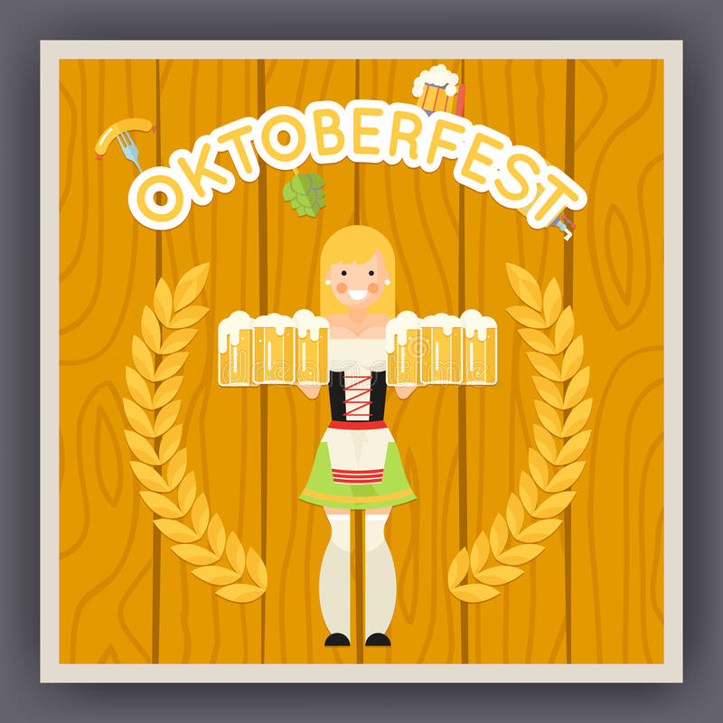 Oktoberfest Festival Celebration Poster Symbol vector illustration