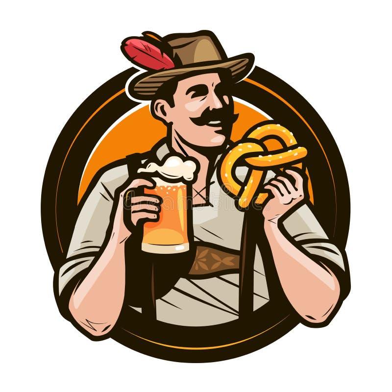 Oktoberfest, festival de bière L'homme heureux dans le costume national tient un verre de bière anglaise et de bretzel dans des m illustration de vecteur