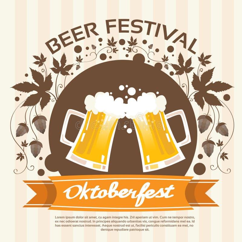 Oktoberfest Festival Two Glass Mug Beer Poster royalty free illustration