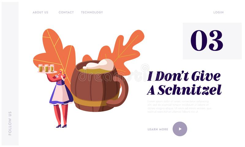 Oktoberfest Festival Website Landing Page. Girl Wearing Traditional Bavarian Dress Dirndl Holding Tray with Beer Mugs vector illustration