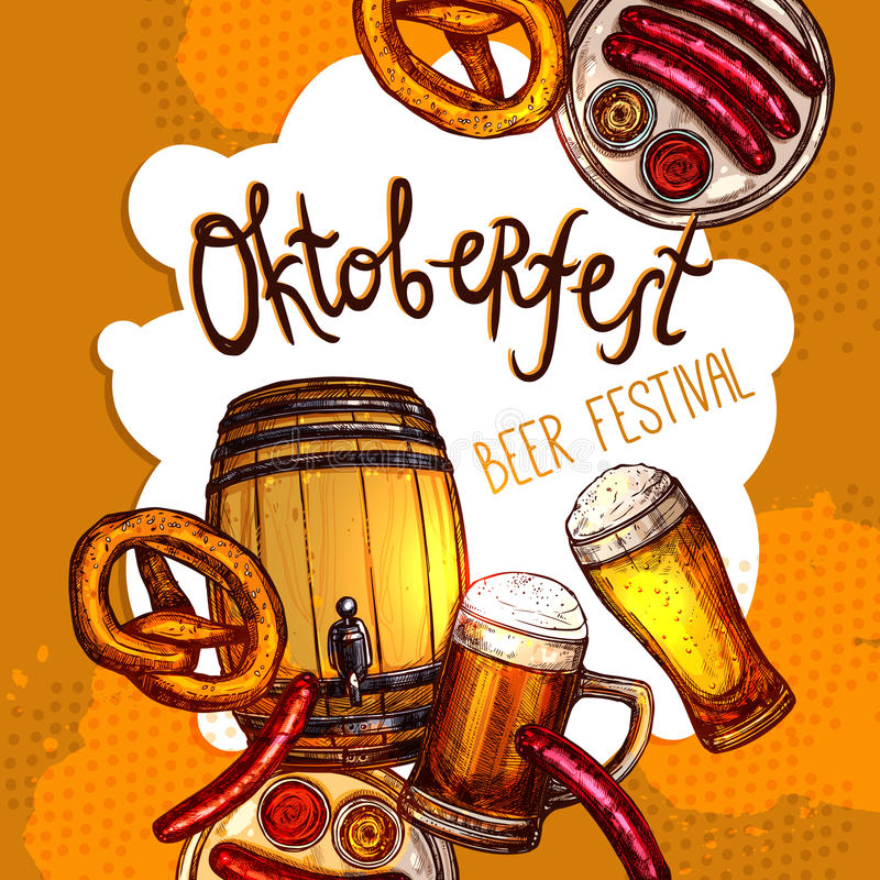 Oktoberfest festivalaffisch royaltyfri illustrationer