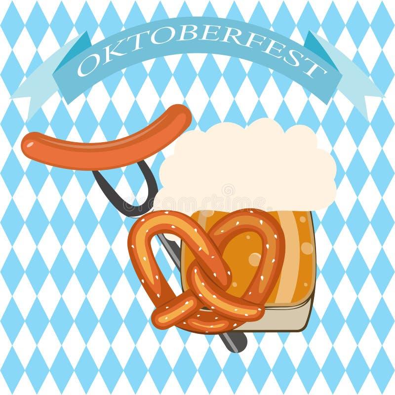 Oktoberfest festiwalu menu piwny szablon z różnymi przedmiotami r ilustracji