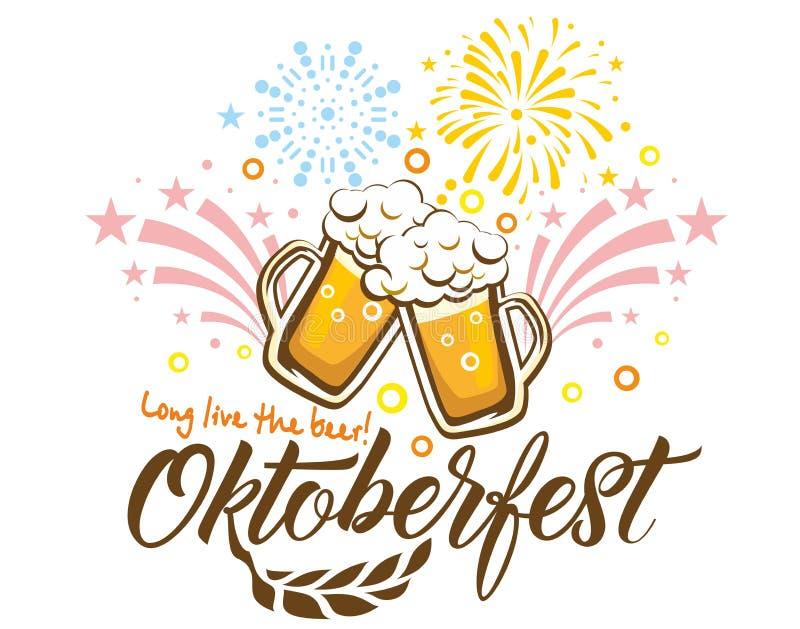 Oktoberfest festiwalu piwni fajerwerki ilustracja wektor