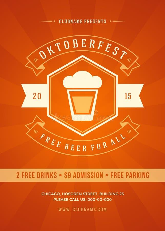 Oktoberfest festiwalu piwny plakat lub ulotka szablon ilustracja wektor