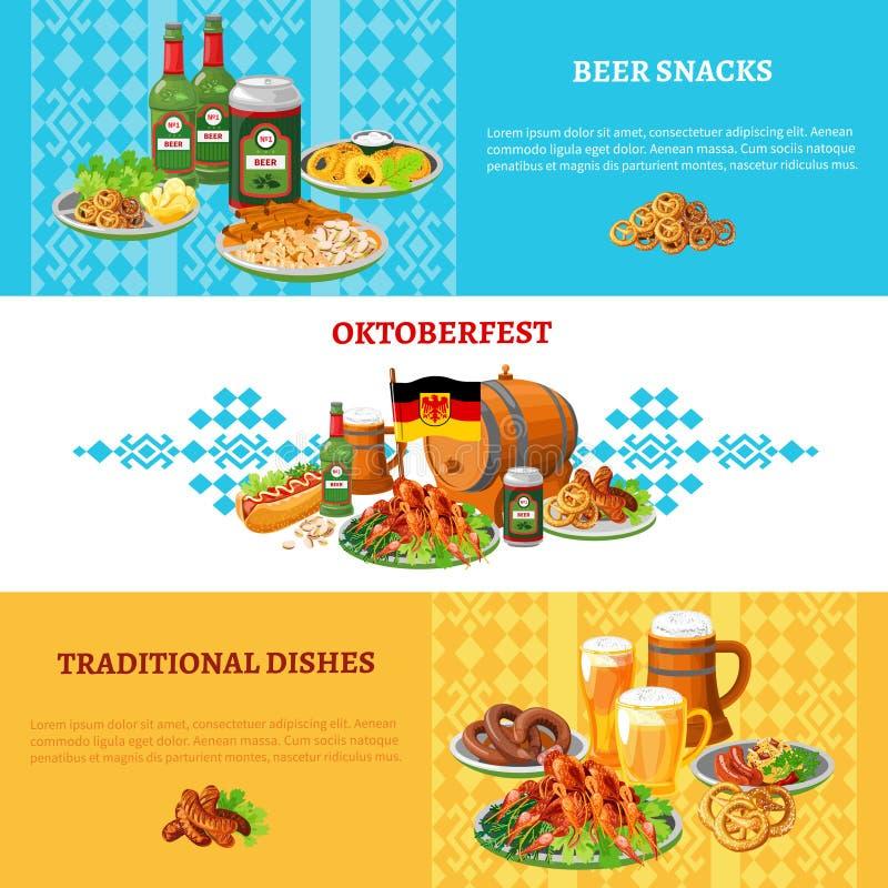 Oktoberfest Flat Horizontal Banners Set vector illustration