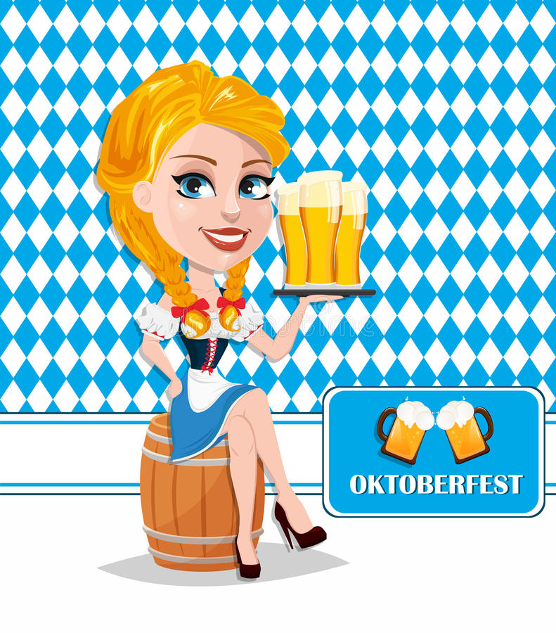 Oktoberfest flyer with redhead girl sitting on barrel and h. Olding beer. Vector illustration on traditional background. Cartoon character. Can be used for stock illustration