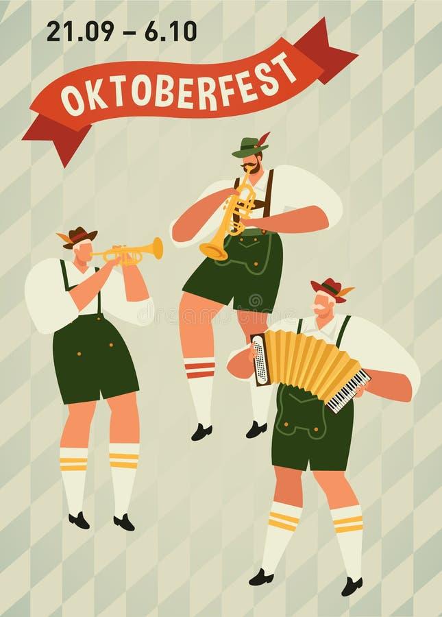 Oktoberfest. Funny cartoon characters in Bavarian folk costumes of Bavaria celebrate and have fun at Oktoberfest beer stock illustration