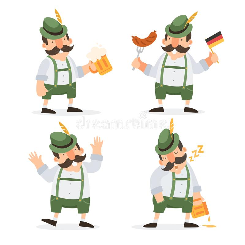 Oktoberfest. Funny cartoon characters in folk costumes of Bavaria celebrate and have fun at Oktoberfest beer festival. royalty free illustration