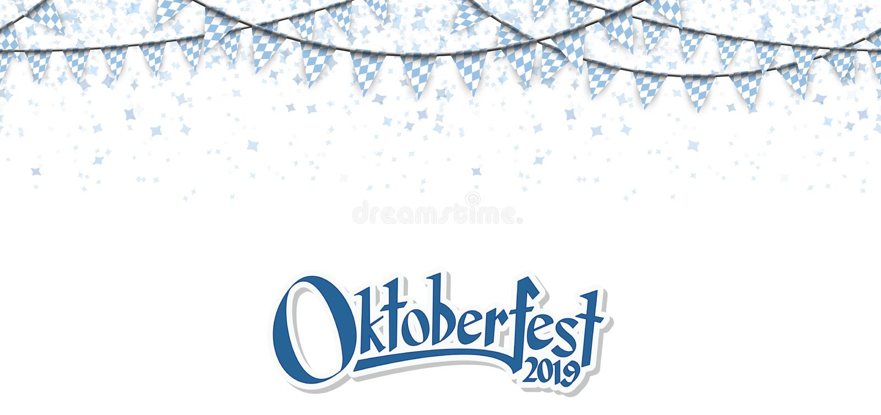 Oktoberfest 2019 garlands with confetti. Oktoberfest 2019 garlands having blue-white checkered pattern and blue confetti bavaria ozapft banner pennant chain royalty free illustration