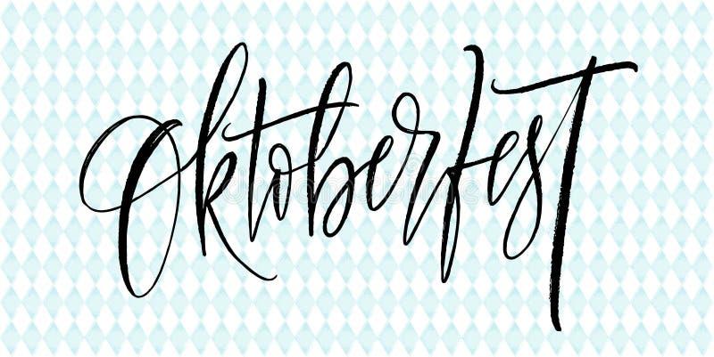 Oktoberfest in German Lettering background. Beer festival decoration banner. Vector illustration royalty free illustration
