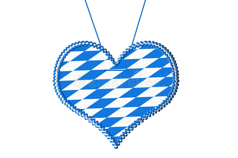 Oktoberfest gingerbread heart. Gingerbread heart with bavarian colors for oktoberfest isolated on white royalty free illustration
