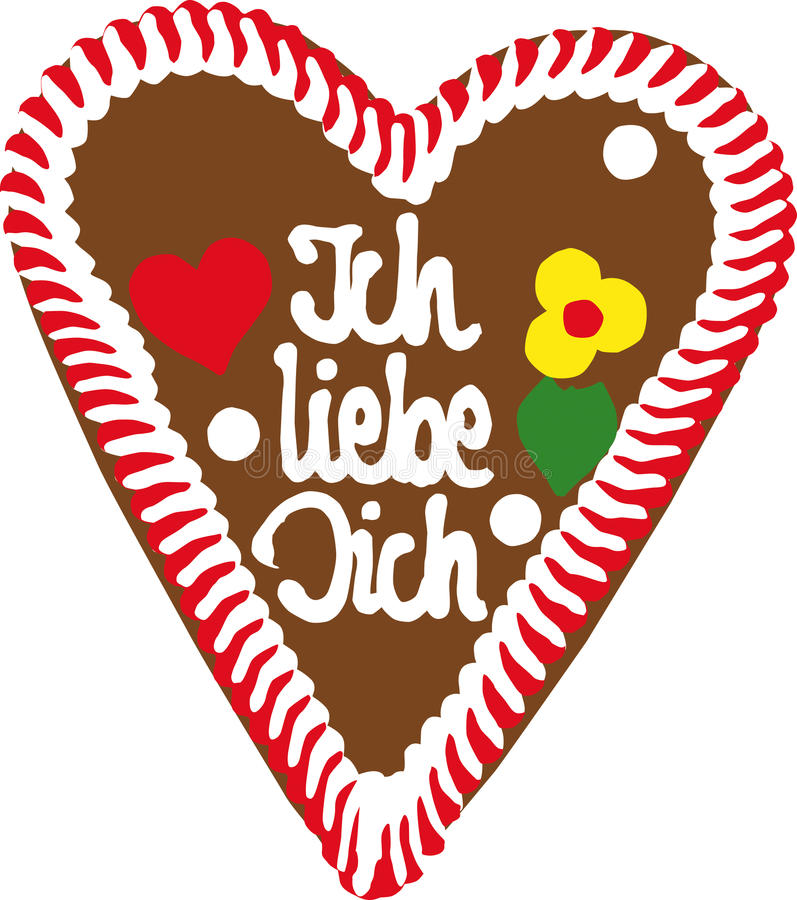 Oktoberfest Gingerbread Heart stock illustration