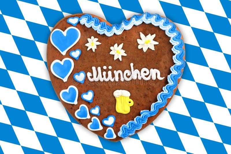 Oktoberfest Gingerbread heart with bavarian white blue flag. royalty free stock photo
