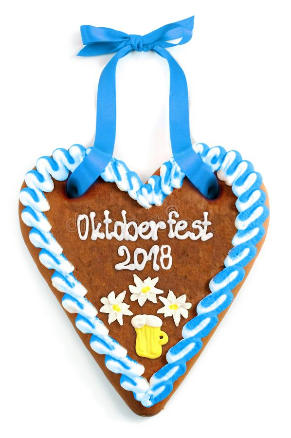 Oktoberfest 2018 Gingerbread heart with white isolated background royalty free stock photo