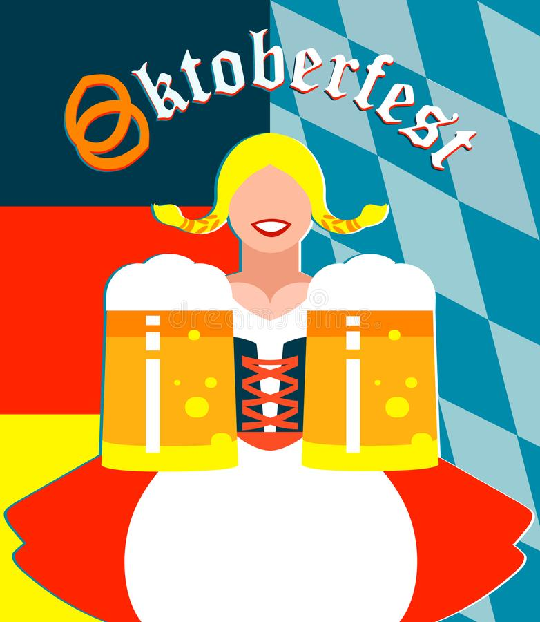 Oktoberfest girl on the background in German and Bavarian flag colors. Illustration of an Oktoberfest girl on the background in German and Bavarian flag colors royalty free illustration