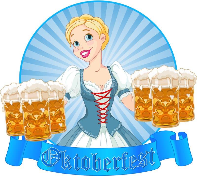 Oktoberfest girl label stock illustration