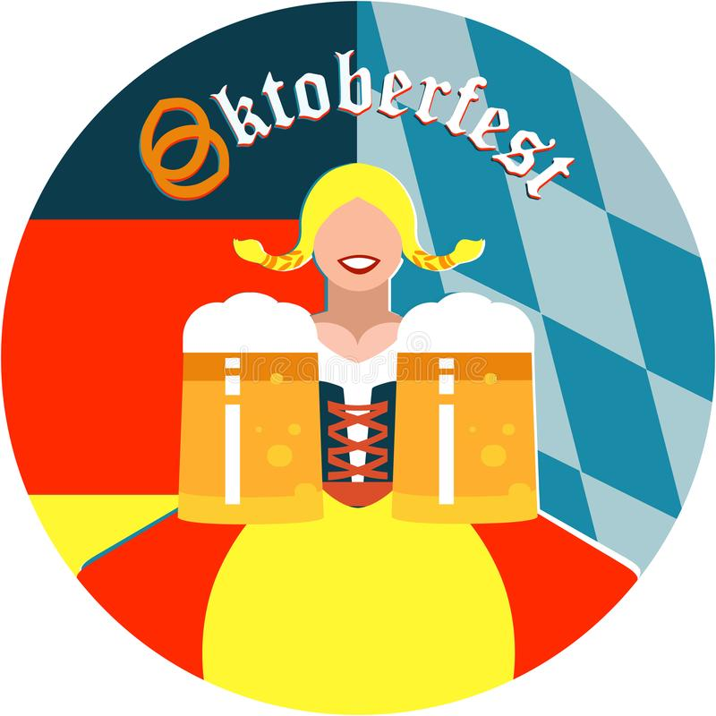 Oktoberfest girl on the round background in German and Bavarian flag colors. Illustration of a Oktoberfest girl on the round background in German and Bavarian royalty free illustration