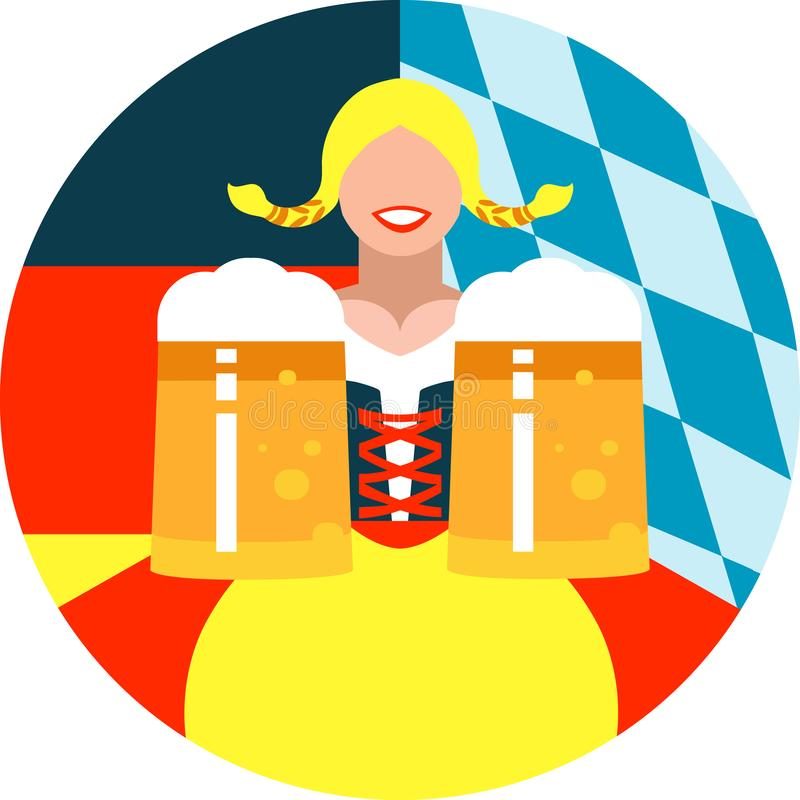 Oktoberfest girl on the round background in German and Bavarian flag colors. Illustration of an Oktoberfest girl on the round background in German and Bavarian vector illustration