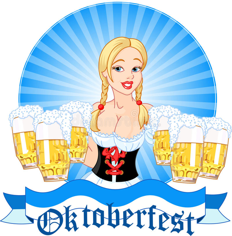 Oktoberfest girl serving beer vector illustration
