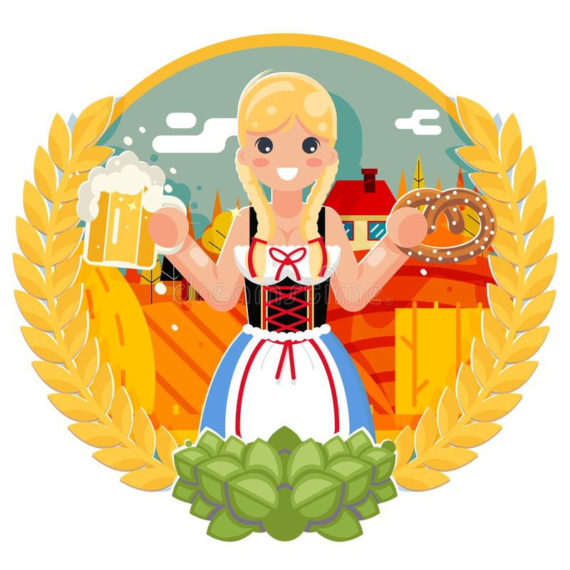Free Oktoberfest Girl With Beer Mug Pretzel Poster Festival Celebration Field Bacground Flat Design Vector Illustration Stock Photos - 123404263