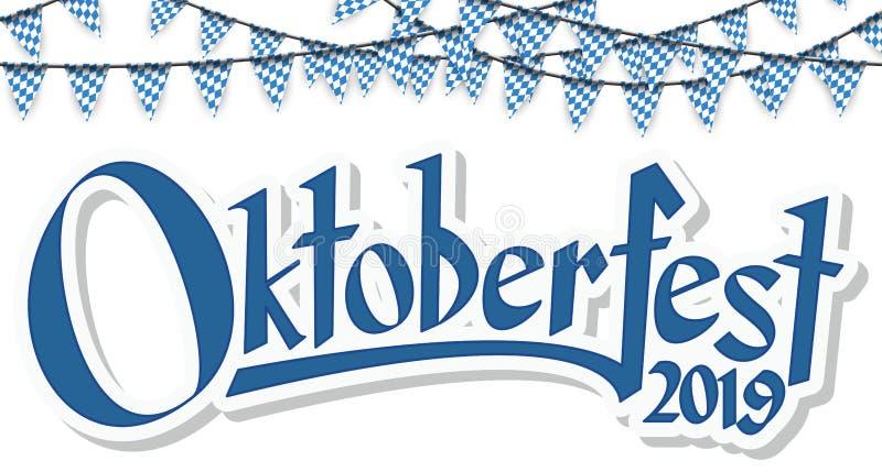 Oktoberfest 2019 girlander stock illustrationer