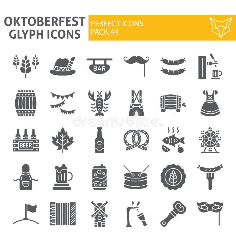 Oktoberfest-Glyph-Ikonensatz, bayerische Feiertagssymbole Sammlung, Vektorskizzen, Logoillustrationen, Bierzeichen fest stock abbildung