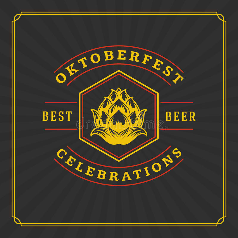 Oktoberfest Greeting card or Flyer on textured background. Beer festival celebration. Oktoberfest Badge or Logo Retro Vector illustration stock illustration