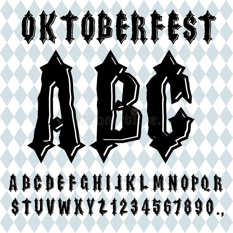 Oktoberfest-Guss Altes gotisches Alphabet Weinlesetypographie O vektor abbildung