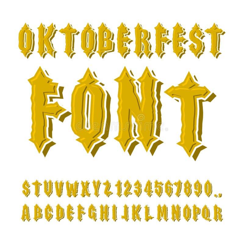 Oktoberfest-Guss Altes gotisches Alphabet Weinlesetypographie O lizenzfreie abbildung