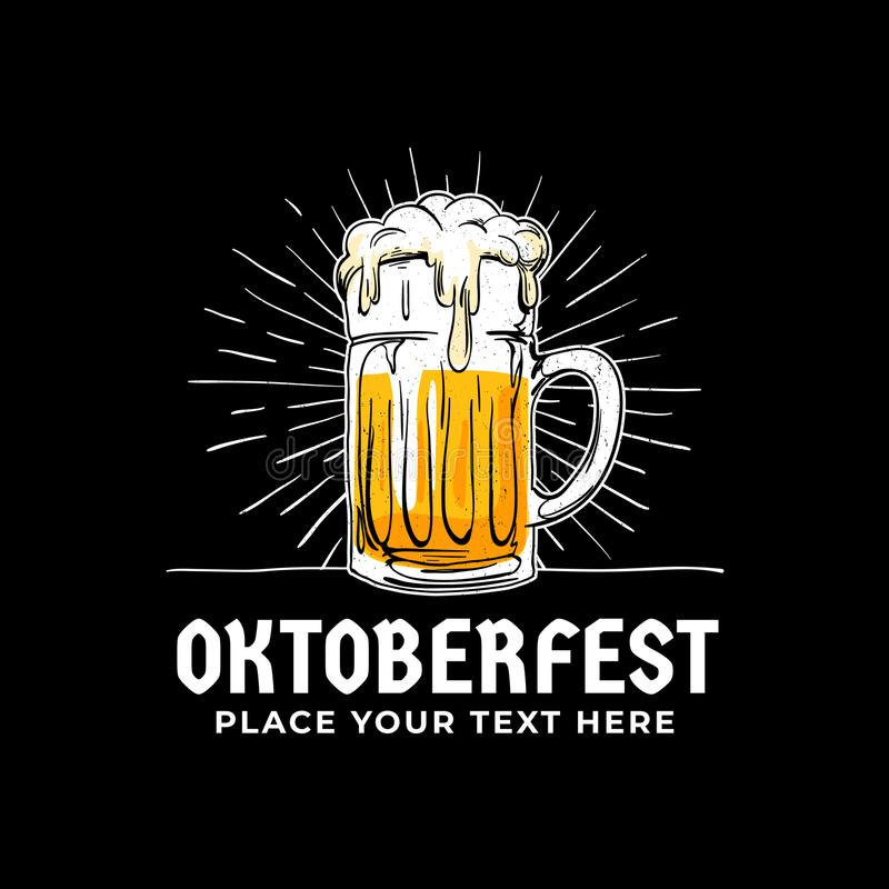 Oktoberfest, hand drawn logo badge. Old style full glass of beer with sun rays background illustration for Munich beer festival. Concept design. Poster, banner vector illustration