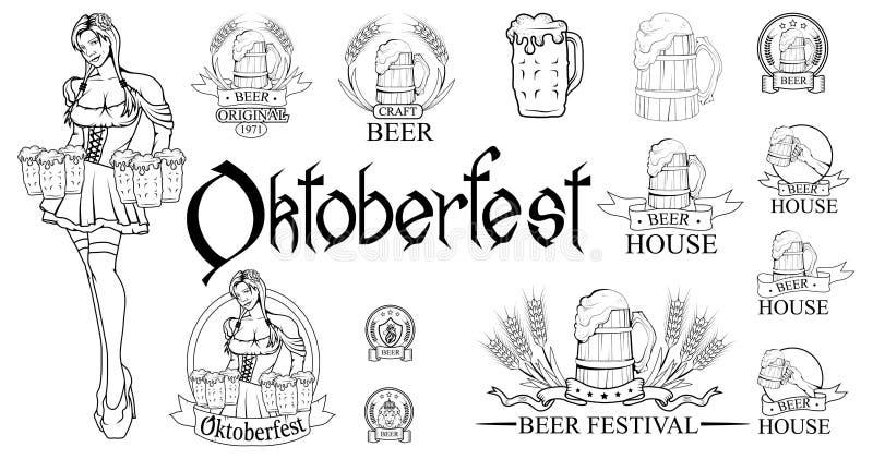 Oktoberfest hand het getrokken van letters voorzien, festival, het meest oktoberfest van letters voorzien voor logotype, vlieger, royalty-vrije illustratie
