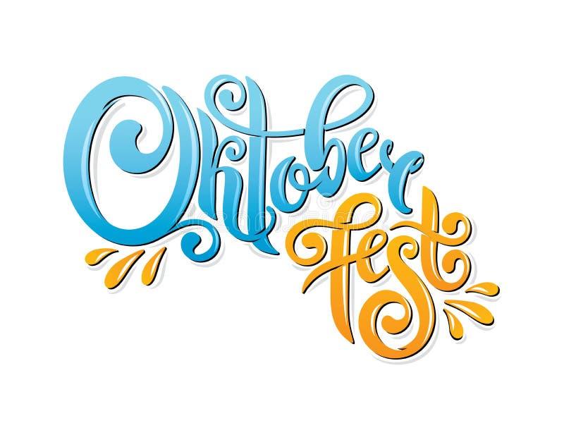Oktoberfest handskriven bokstävertitelrad Design för vektor för Oktoberfest typografititel royaltyfri illustrationer