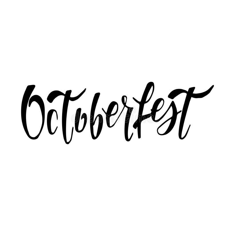 Oktoberfest handskriven bokst?ver Typografidesign f?r h?lsningkort och affisch Baner f?r ?lfestivalvektor stock illustrationer