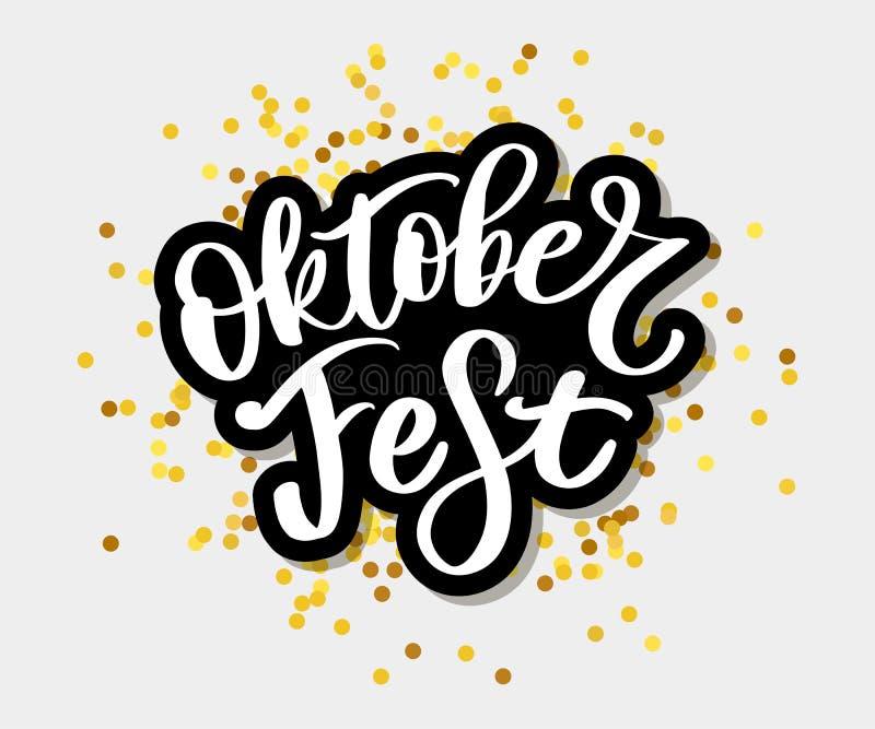 Oktoberfest handwritten lettering. Oktoberfest typography vector design for greeting cards and poster. Beer Festival vector banner royalty free illustration