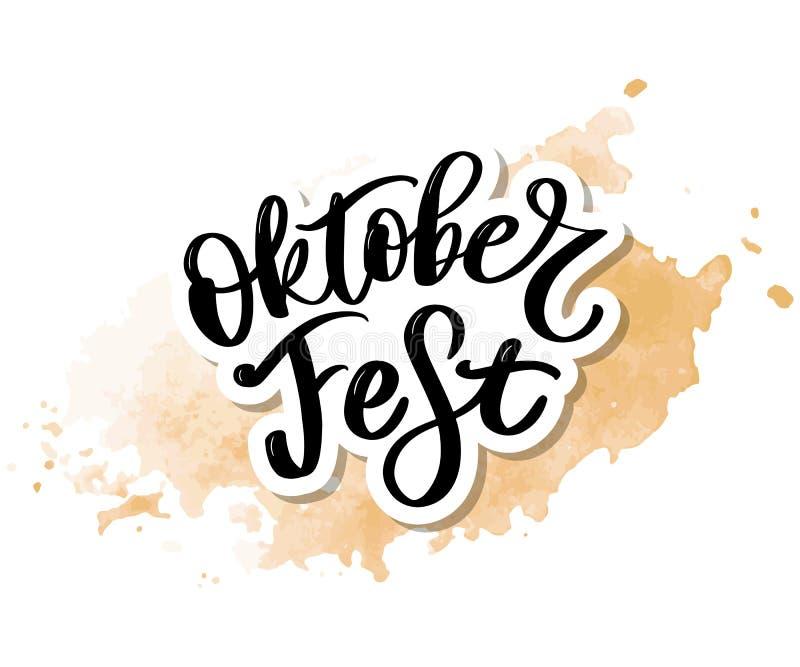 Oktoberfest handwritten lettering. Oktoberfest typography vector design for greeting cards and poster. Beer Festival vector banner. Design template celebration royalty free illustration