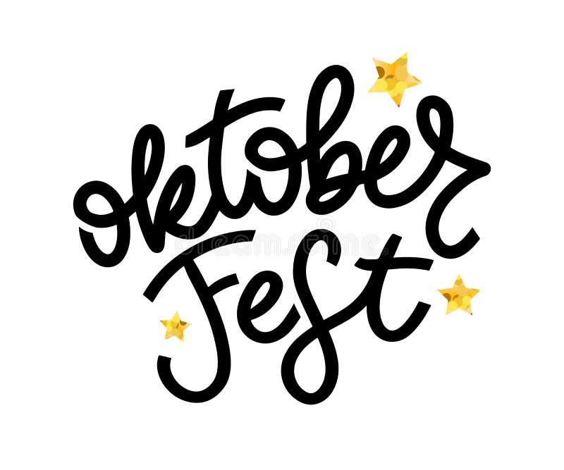 Oktoberfest handwritten lettering. Oktoberfest typography vector design for greeting cards and poster. Beer Festival vector banner. Design template celebration stock illustration