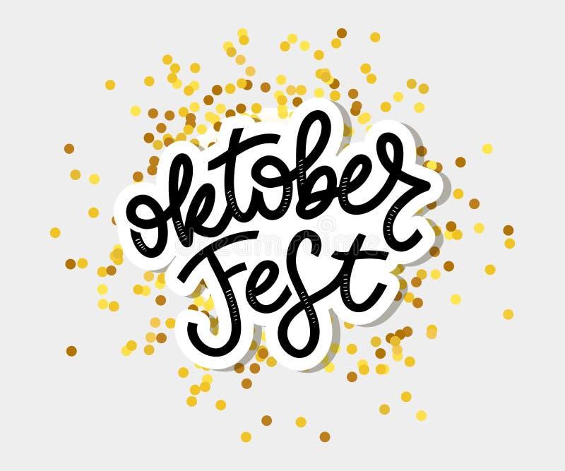 Oktoberfest handwritten lettering. Oktoberfest typography vector design for greeting cards and poster. Beer Festival vector banner. Design template celebration vector illustration