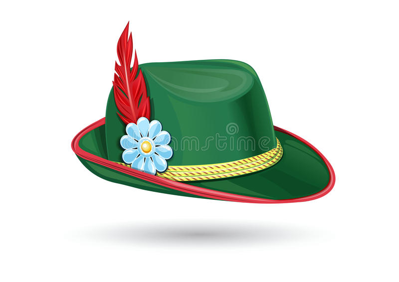 Oktoberfest hat. Tyrolean Bavarian hat. Oktoberfest hat. Tyrolean hat. Bavarian hat. Traditional German headdress. Hunter hat with a feather. Part of the royalty free illustration